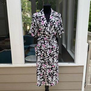 Vintage 80s does 40s Belted Midi Floral Day Dress